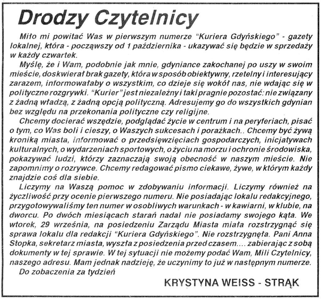 Drodzy Czytelnicy // Kurier Gdyński. - 1992, nr 1, s. [1]
