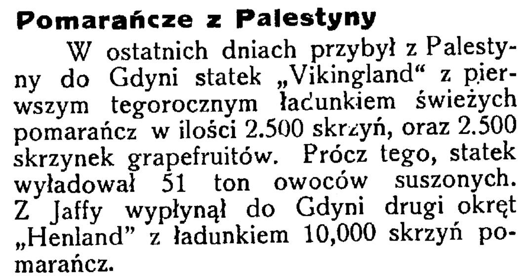 Pomarańcze z Palestyny // Latarnia Morska. - 34, nr 46, s. 13