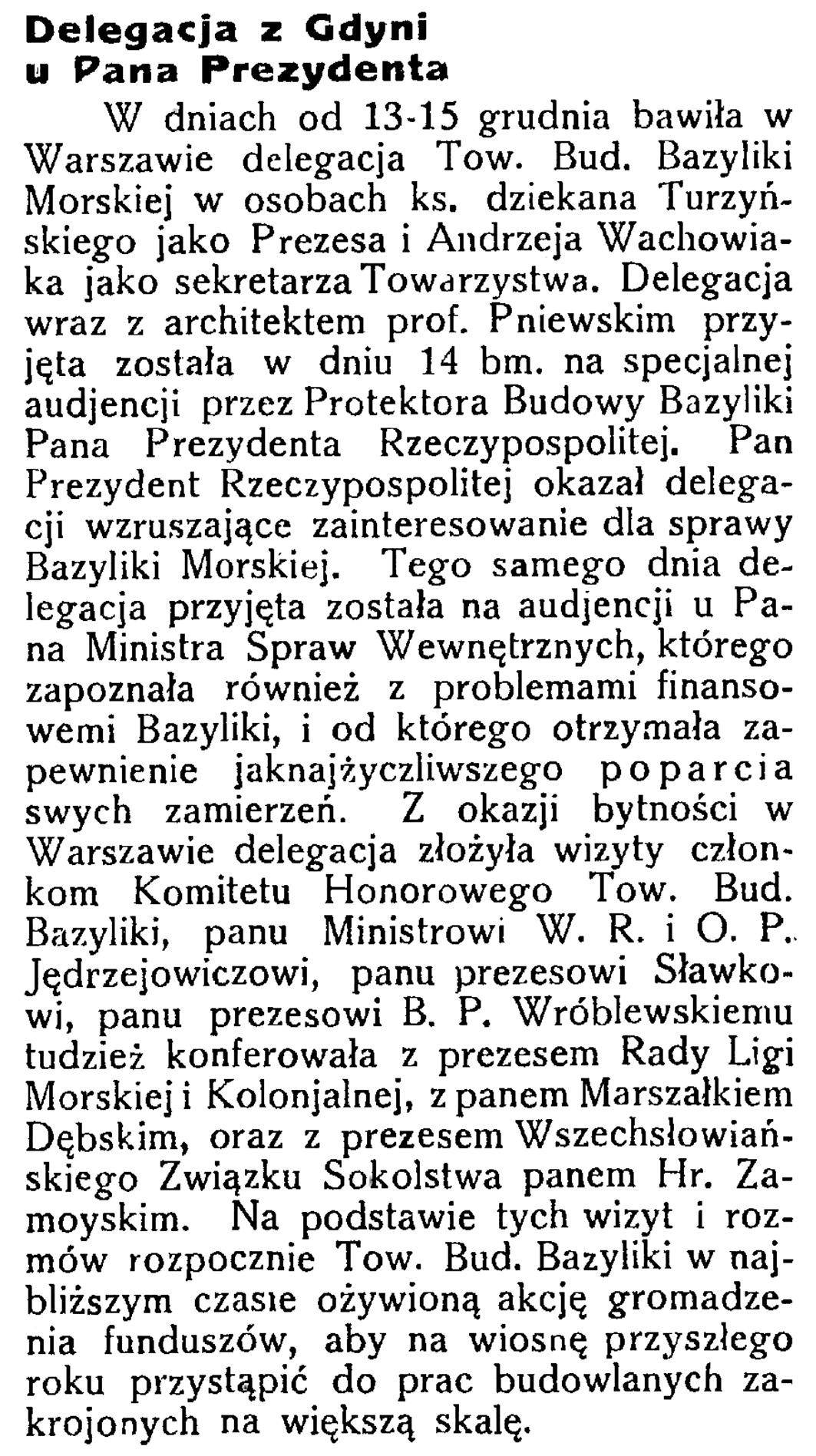 Delegacja z Gdyni u Pana Prezydenta // Latarnia Morska. - 1934, nr 46, s. 4