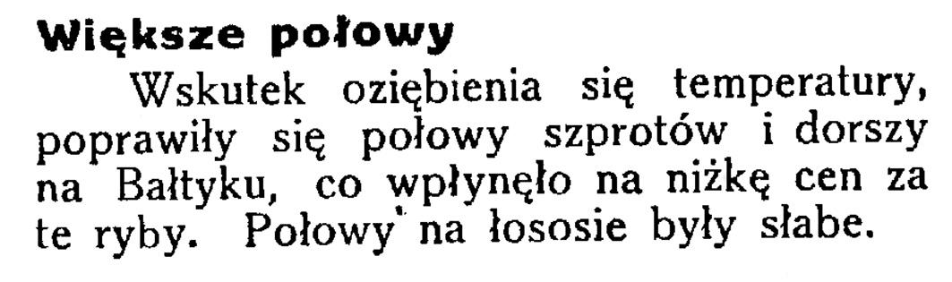 Większe połowy // Latarnia Morska .- 34, nr 46, s. 12