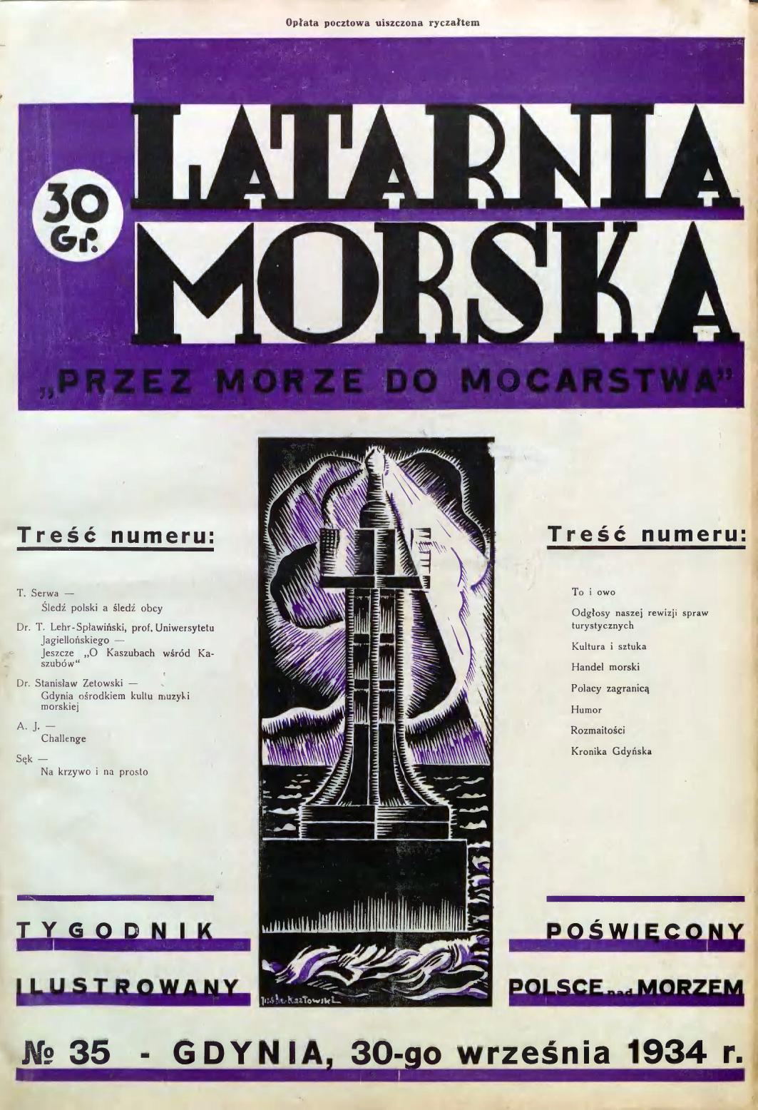 Latarnia Morska: tygodnik ilustrowany poświęcony Polsce nad morzem. – Gdynia : Balto Polak – Zakłady Graficzne i Wydawnicze, 1934, nr 35