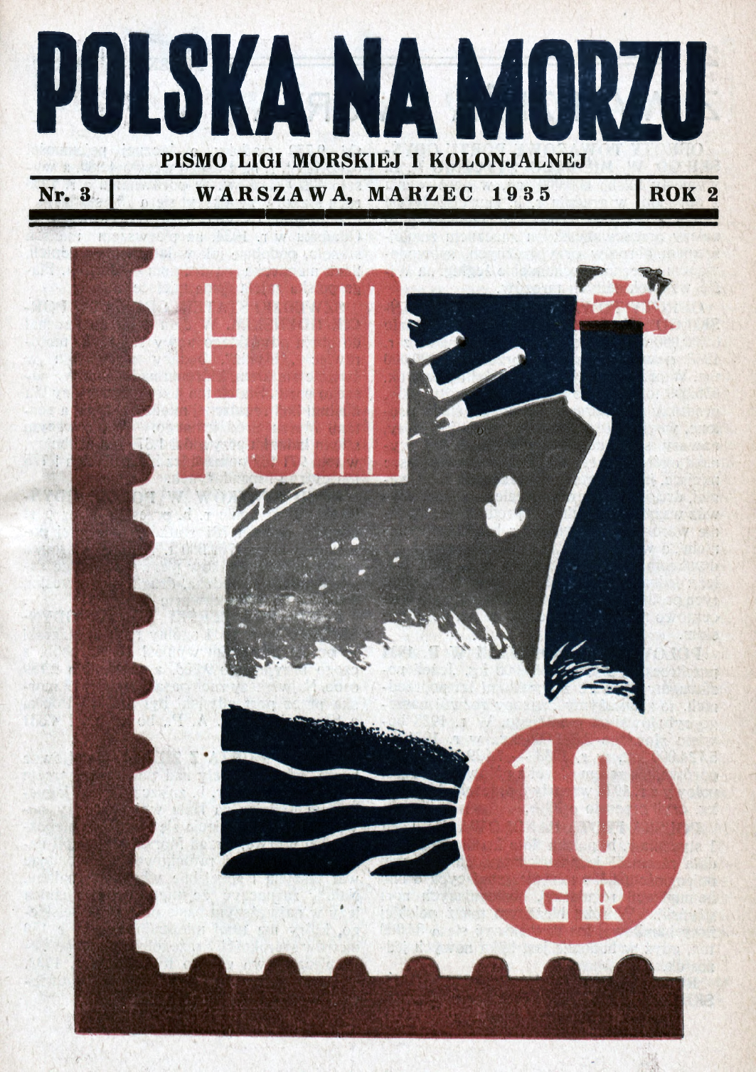 Polska na Morzu : pismo Ligi Morskiej i Kolonjalnej. - Liga Morska i Kolonialna, 1935, nr 3