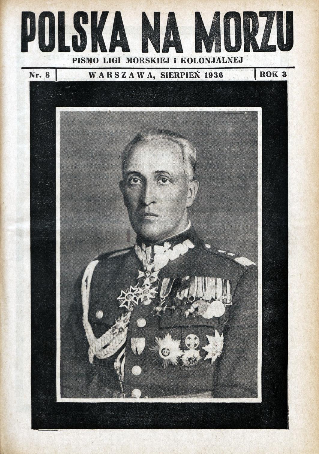 Polska na Morzu : pismo Ligi Morskiej i Kolonjalnej. - Liga Morska i Kolonjalna, 1936, nr 8