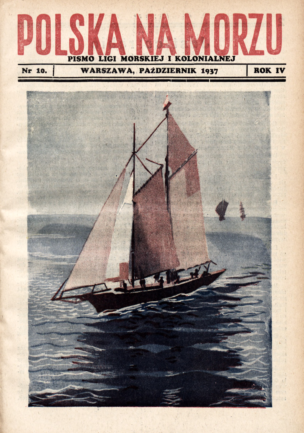 Polska na Morzu : pismo Ligi Morskiej i Kolonjalnej. - Liga Morska i Kolonjalna, 1937, nr 10