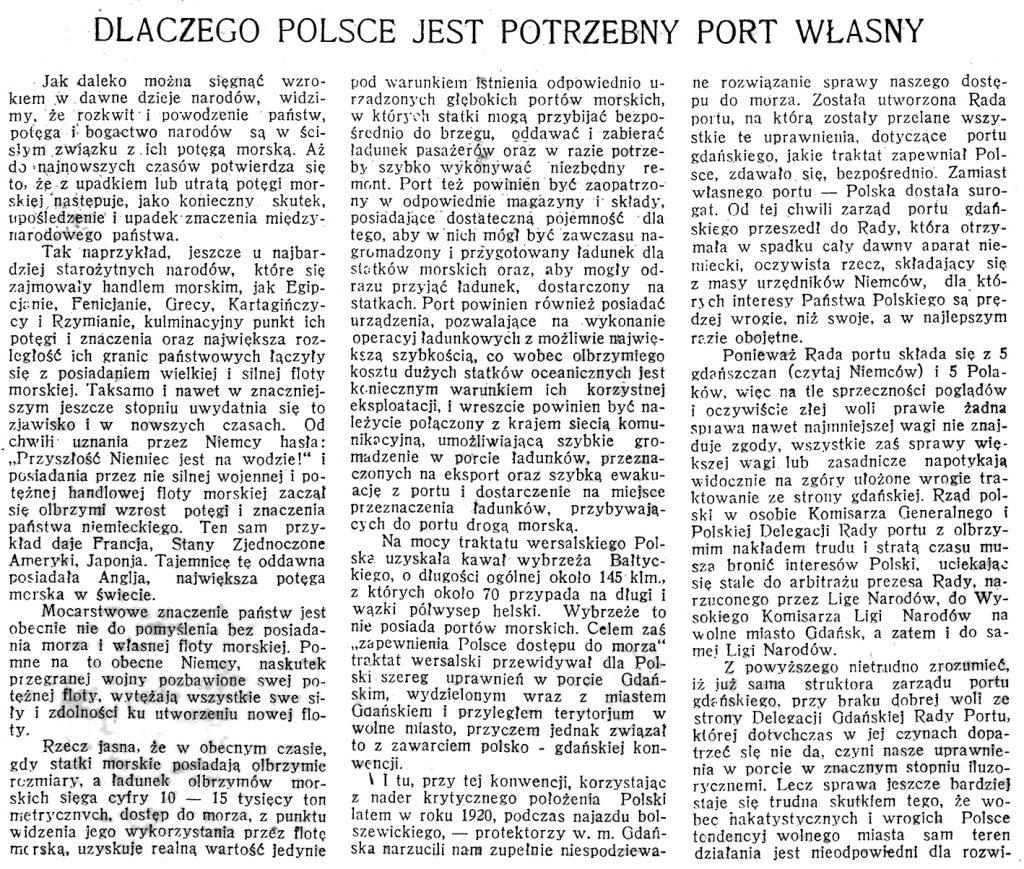 Dlaczego Polsce potrzebny jest port własny // Morze. - 1924, nr 1, s. 4-5
