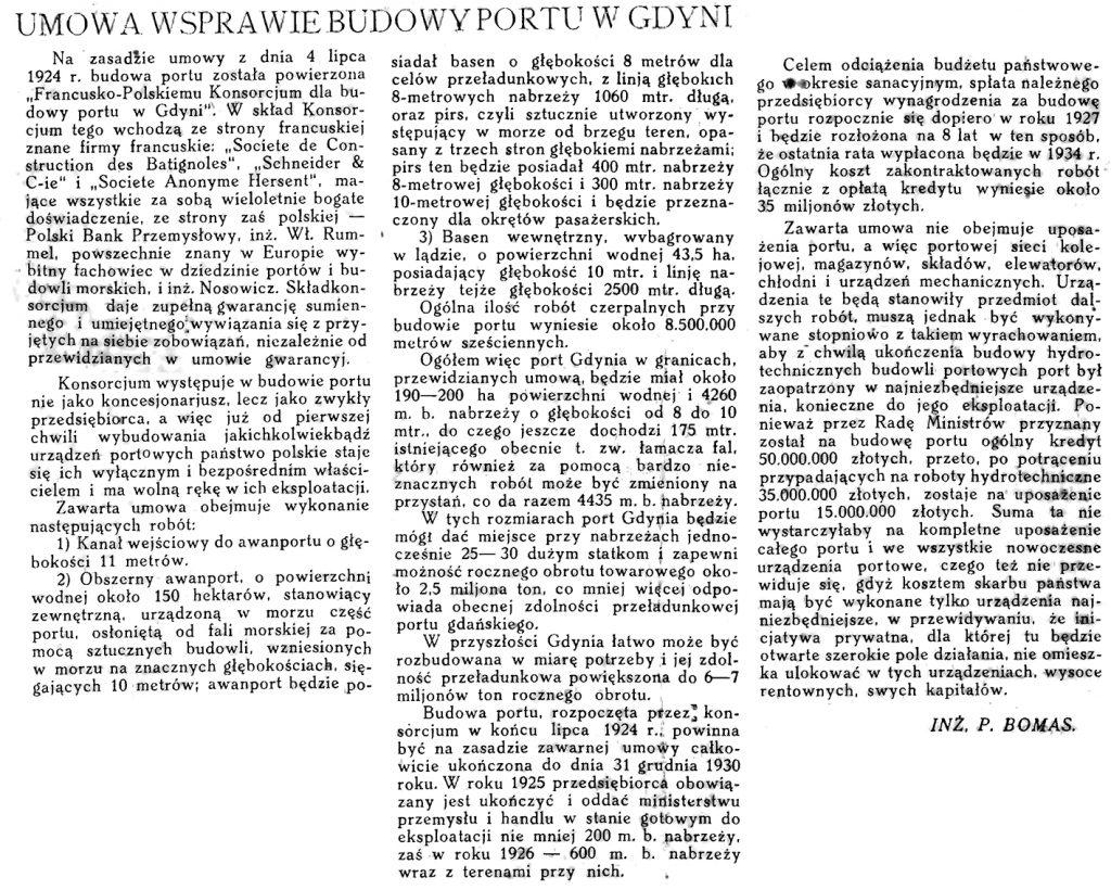 Umowa w sprawie budowy portu w Gdyni / P. Bomas // Morze. - 1924, nr 2, s. 11