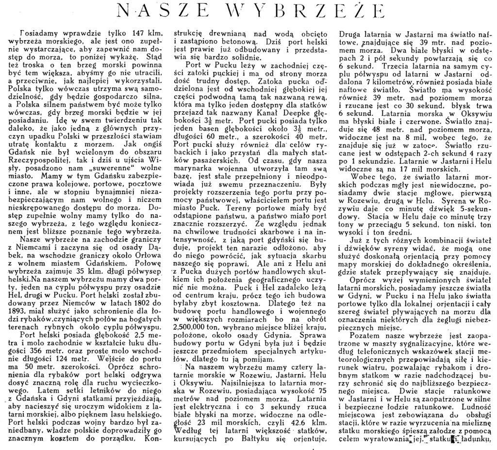 Nasze wybrzeże / St. Łęgowski // Morze. - 1924, nr 2, s. 8-9