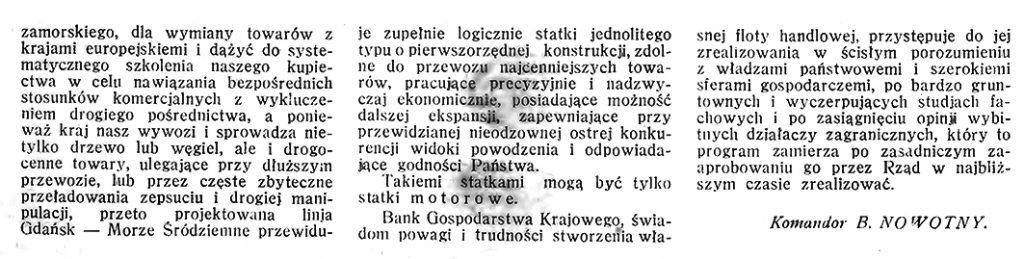 Statki motorowe na linji morskiej Gdańsk - Gdynia - Morze Śródziemne // Morze. - 1926, nr 10, s. 10