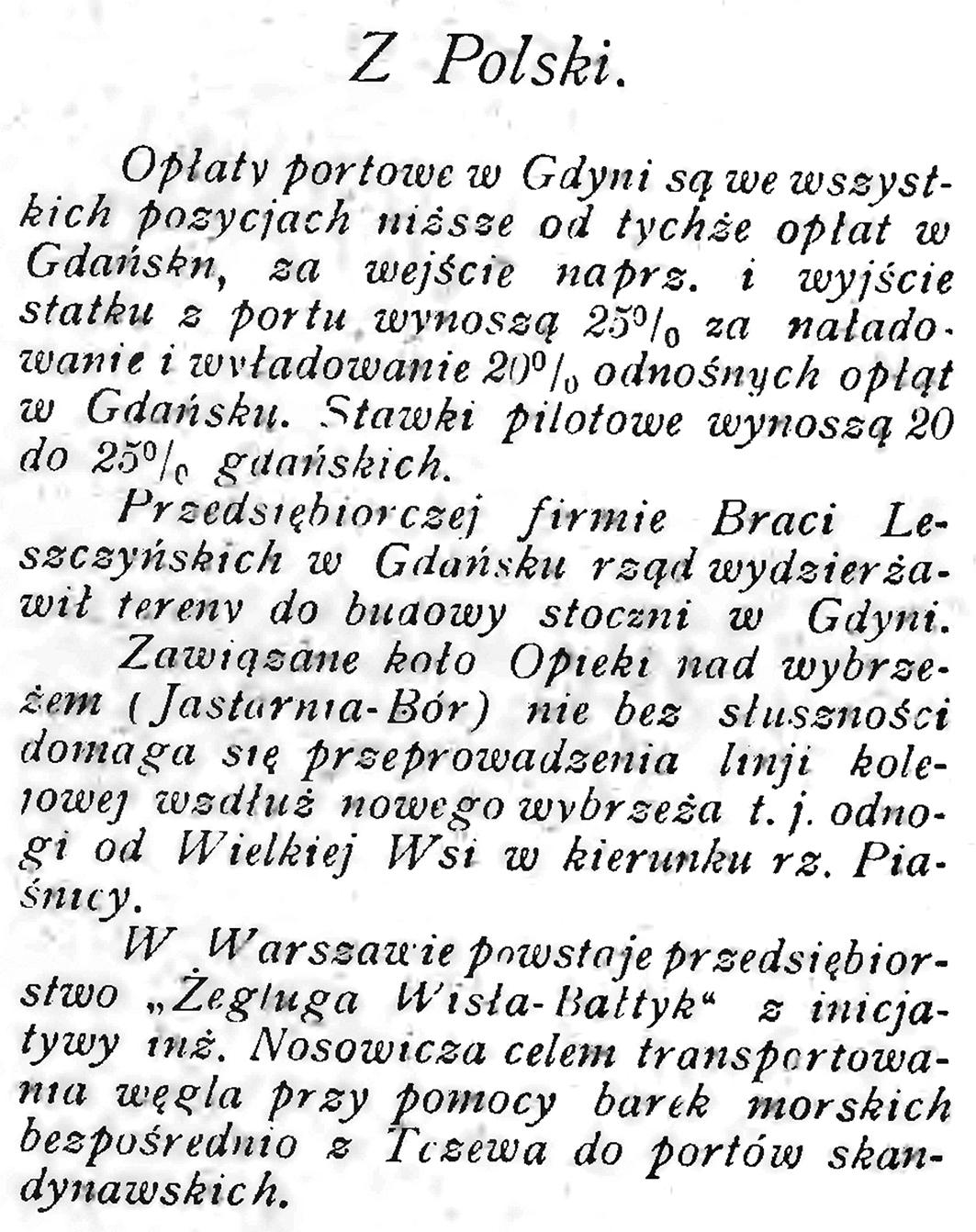 Z Polski // Morze. - 1939, nr 10, s. 14