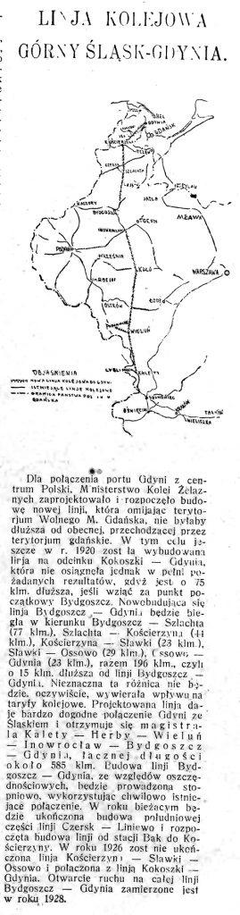 Linja Kolejowa Górny Śląsk - Gdynia // Morze. - 1925, nr 10, s. 5