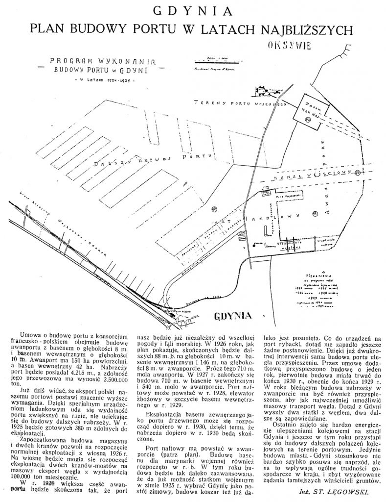 Gdynia: plan budowy portu w latach najbliższych / St. Łęgowski  // Morze. - 1925, nr 10, s. 6. - Map.