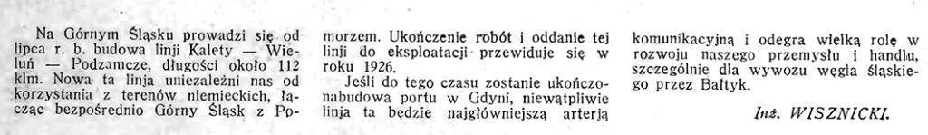Budowa lini kolejopwej / Wisznicki // Morze. - 1925, nr 10, s. 6