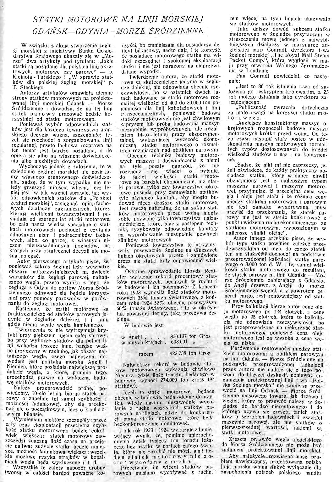 Statki motorowe na linji morskiej Gdańsk - Gdynia - Morze Śródziemne // Morze. - 1926, nr 10, s. 9