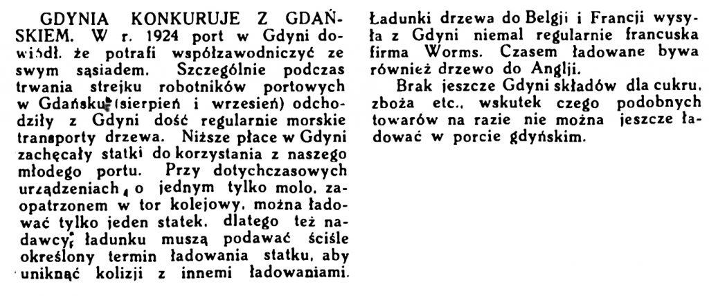 Gdynia konkuruje z Gdańskiem // Morze. - 1924, nr 3, s. 12