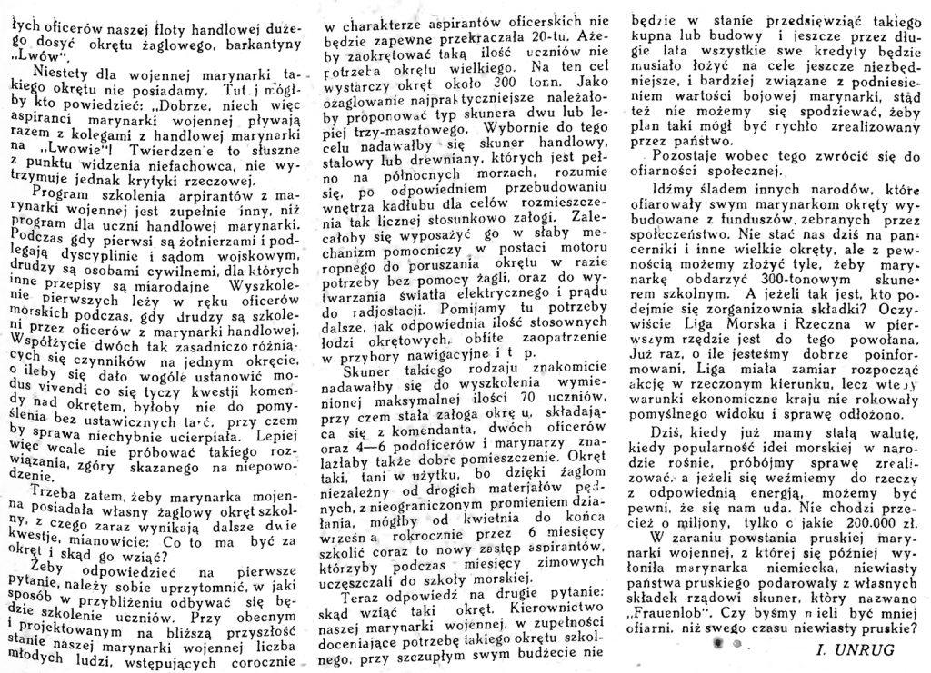 O żaglowy okręt szkolny dla Marynarki Wojennej // Morze. - 1925, nr 6, s. 3