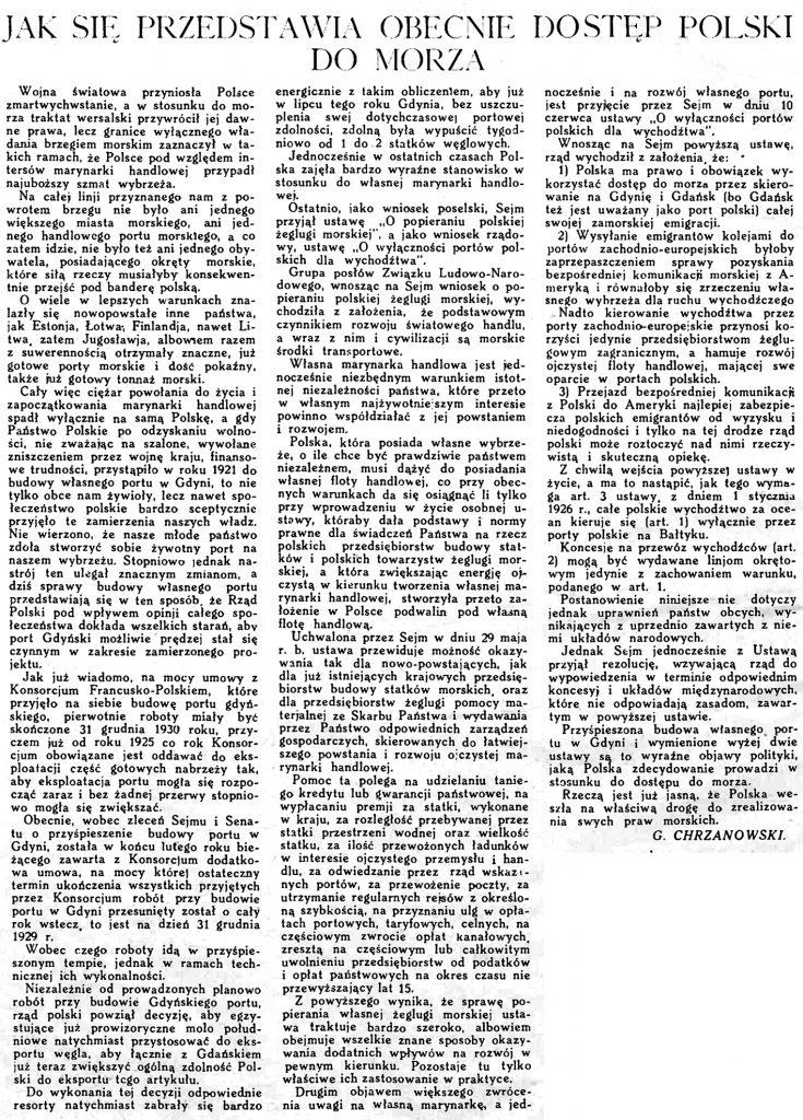 Jak się przedstawia obecnie dostęp Polski do morza // Morze. - 1925, nr 7, s. 2