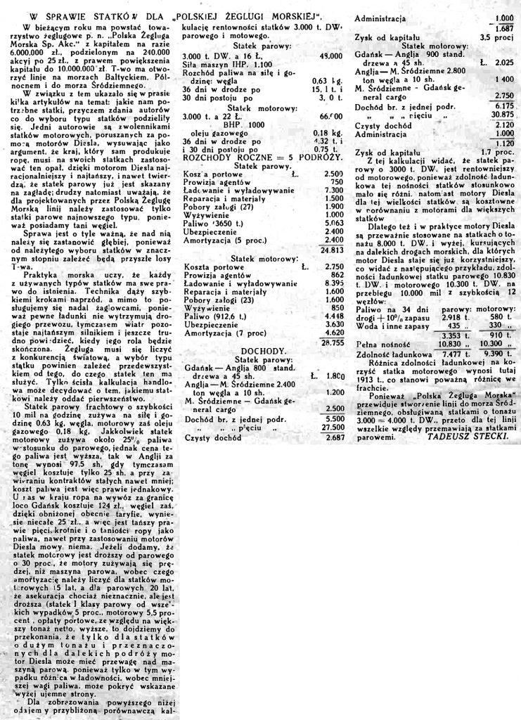 """W sprawie statków dla """"Polskiej Żeglugi Morskiej"""" // Morze. - 1925, nr 7, s. 4"""