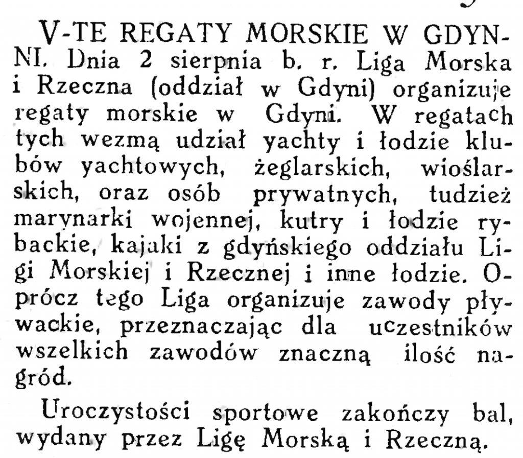 V-te Regaty Morskie w Gdyni // Morze. - 1925, nr 8, s. 14