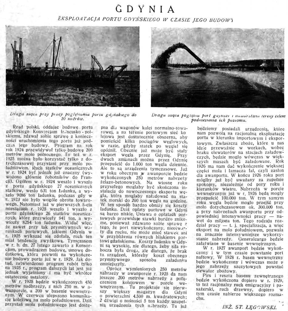 Gdynia: eksploatacja portu gdyńskiego w czasie jego budowy // Morze. 1925, nr 9, s. 2. - Il.
