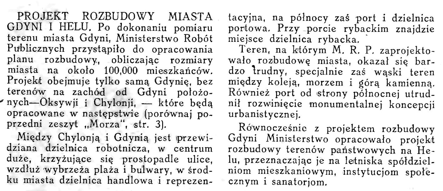 Projekt rozbudowy miasta Gdyni i Helu // Morze. - 1926, nr 10, s. 12