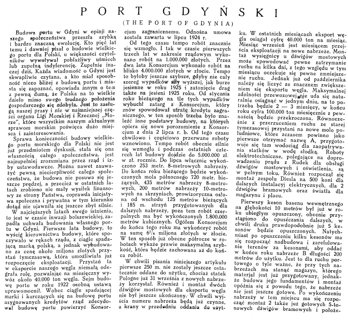Port gdyński / St.  Łęgowski // Morze. - 1926, nr 9, s. 1-4. - Il.