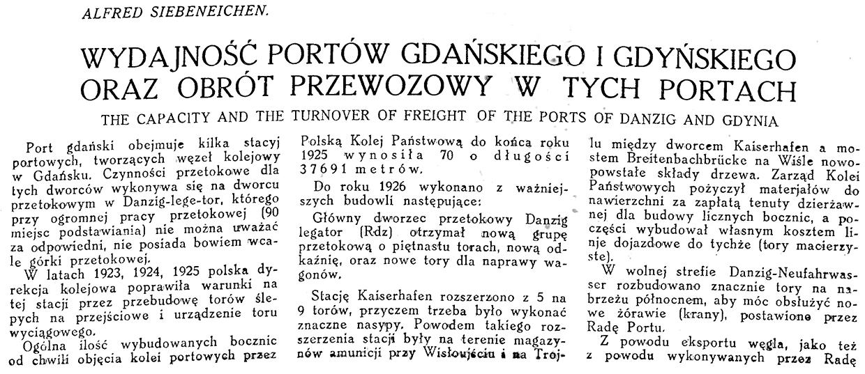 Wydajność portów gdańskiego i gdyńskiego oraz obrót przewozowy // Alfred Siebeneichen // Morze. - 1926, nr 9, s. 9-11