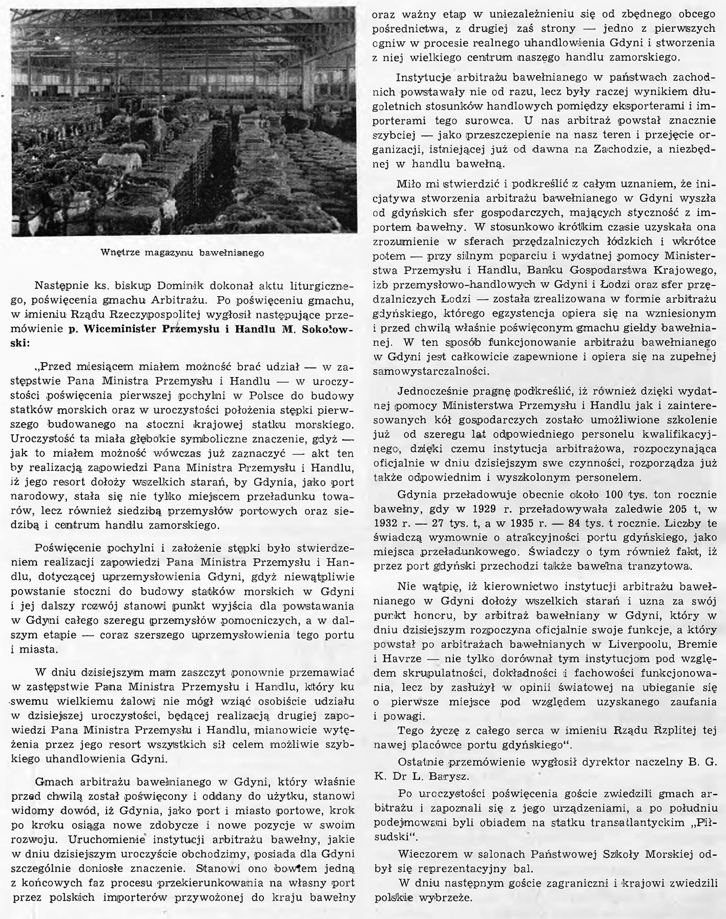 Otwarcie Arbitrażu Bawełnianego w Gdyni // Morze. - 1938, nr 10, s. 4. - Il.
