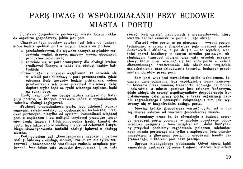 Parę uwag o współdziałaniu przy budowie miasta i portu // Wiadomości Portu Gdyńskiego. - 1931, z. 9