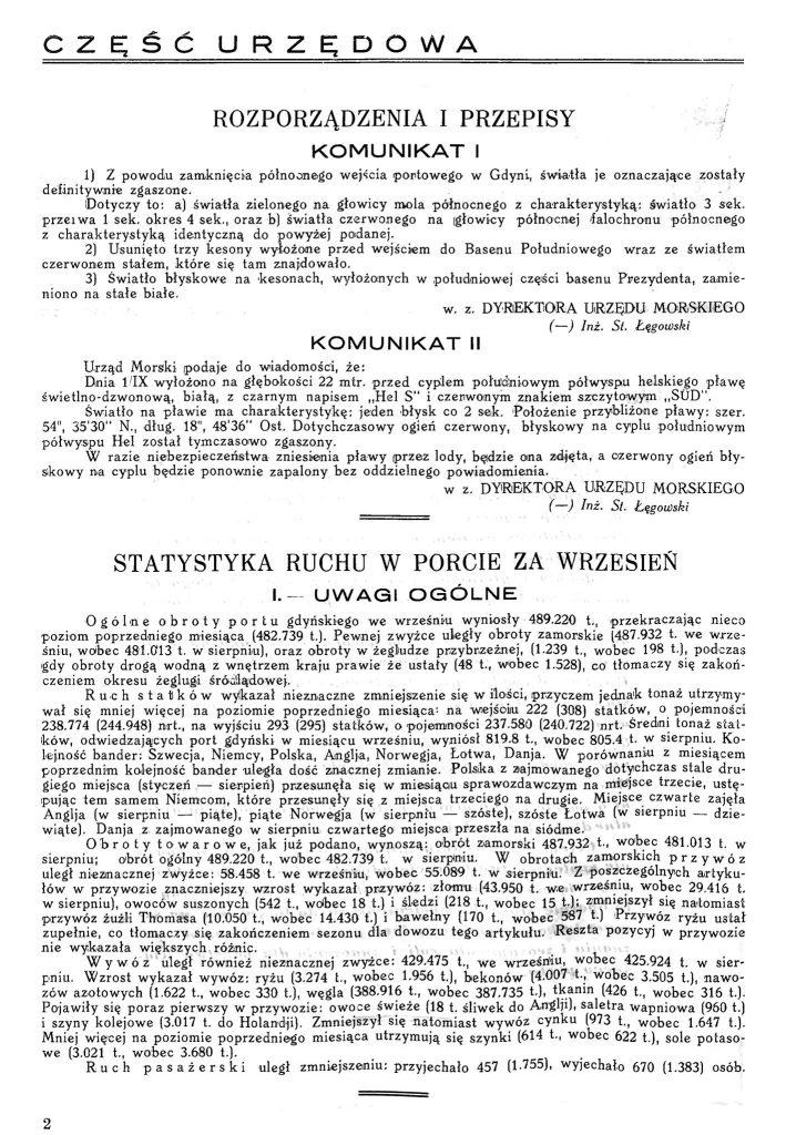 Statystyka ruchu w porcie za wrzesień [1931] / Wiadomości Portu gdyńskiego. - 1931, z. 9