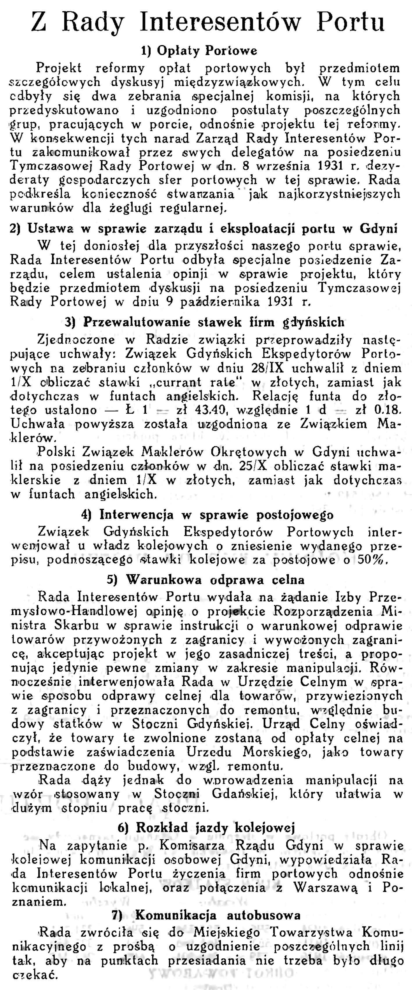 Z Rady Interesantów Portu // Wiadomości Portu Gdyńskiego. - 1931, z. 9, s. 21