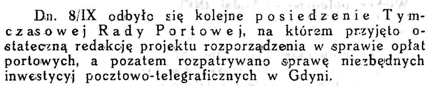 Posiedzenie Tymczasowej Rady Portowej / Wiadomości Portu Gdyńskiego. - 1931, z. 9