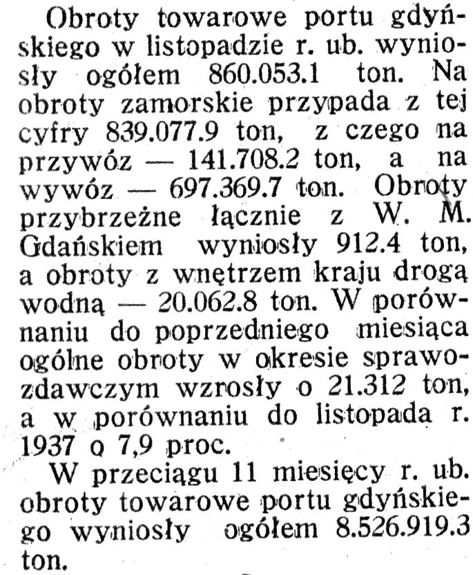[Obroty towarowe portu gdyńskiego w listopadzie 1938 r.] // [Uroczystość powitania 8 Kompanii Rezerwowej Policji Państwowej w Gdyni]] // Morze i Kolonie. - 1939, nr 1, s. 36