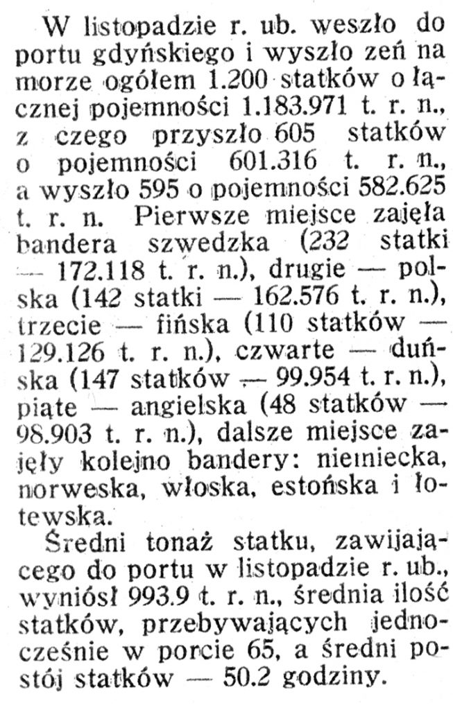 [W listopadzie 1938 r. weszło i wyszło z portu gdyńskiego ...] // Morze i Kolonie. - 1939, nr 1, s. 36