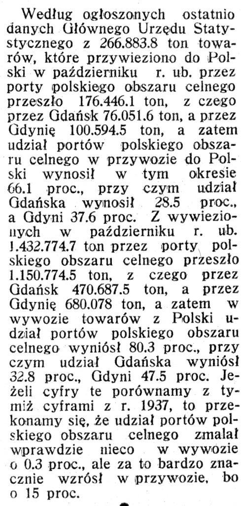 [Towary przewiezione przez porty polskiego obszaru celnego] // Morze i Kolonie. - 1939, nr 1, s. 36