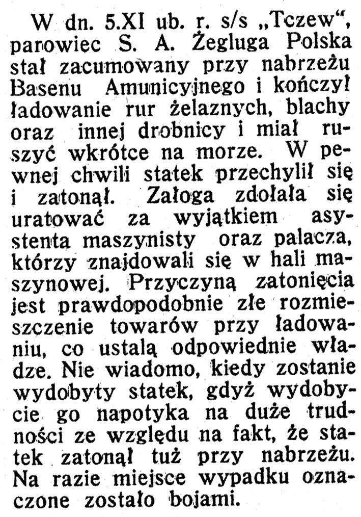 """[Katastrofa s/s """"Tczew""""] // [Towary przewiezione przez porty polskiego obszaru celnego] // Morze i Kolonie. - 1939, nr 1, s. 36"""