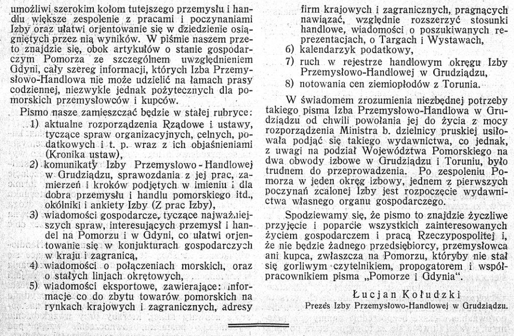 Pomorze i Gdynia 1929, nr 1