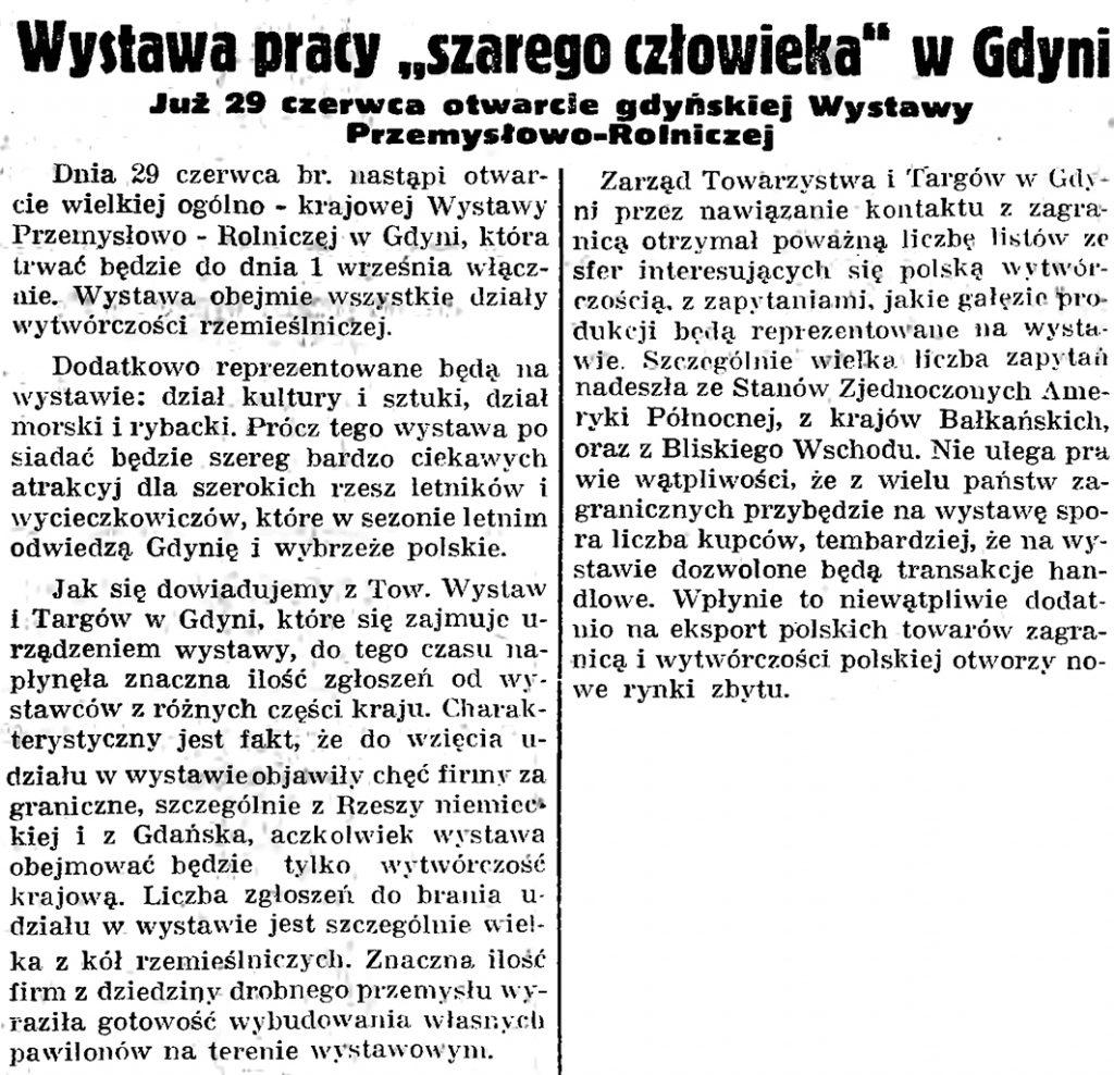 """Wystawa pracy """"szarego człowieka"""" w Gdyni. Już  29 czerwca otwarcie gdyńskiej Wystawy Przemysłowo-Rolniczej // Gazeta Gdańska. - 1935, nr 128, s. 9"""