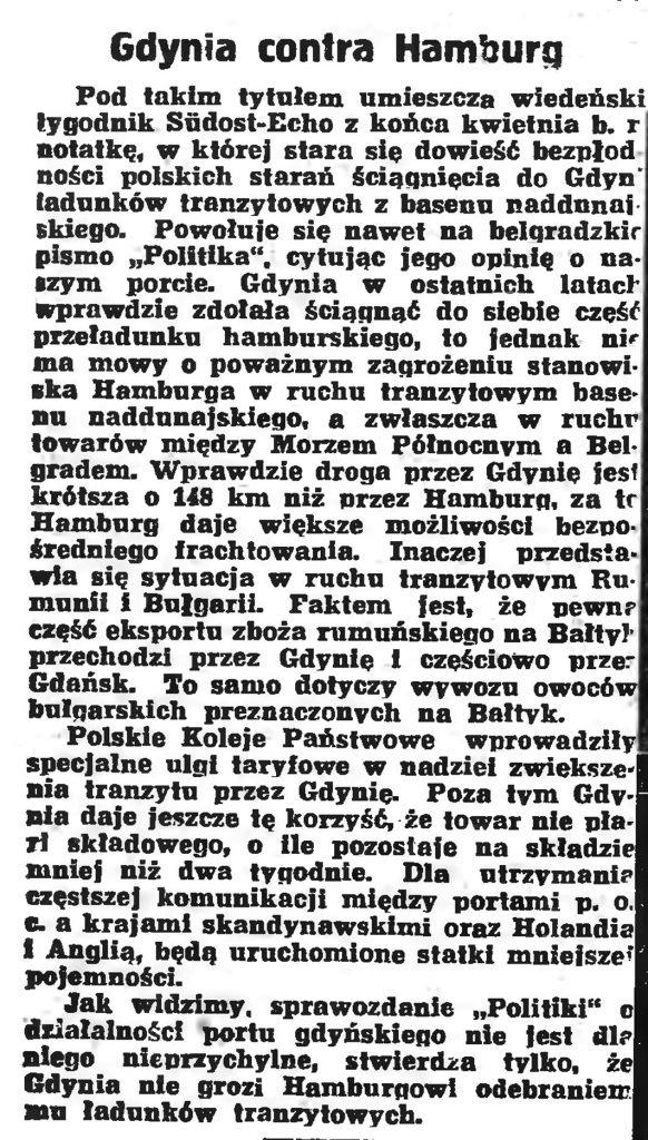 Gdynia contra Hamburg // Gazeta Gdańska. - 1939, nr 108, s. 4
