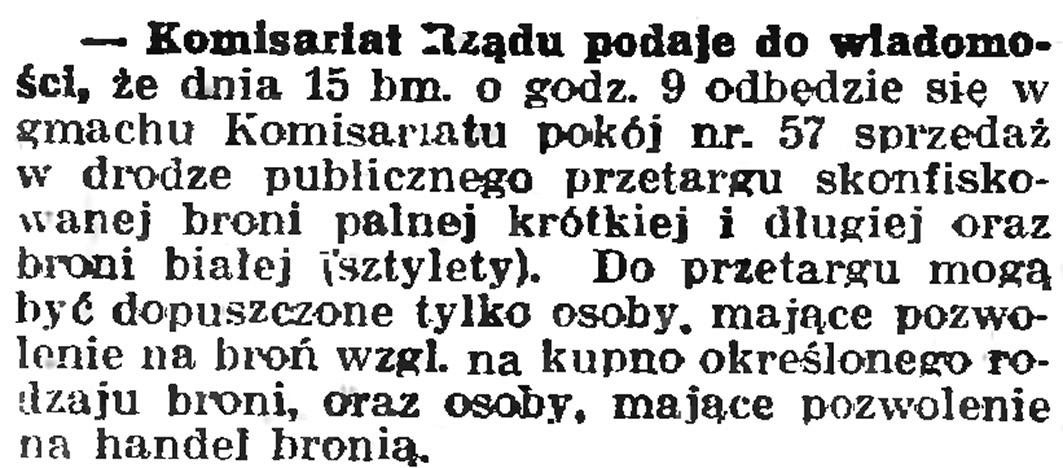 Komisariat Rządu podaje do wiadomości ... // Gazeta Gdańska. - 1939, nr 108, s. 6