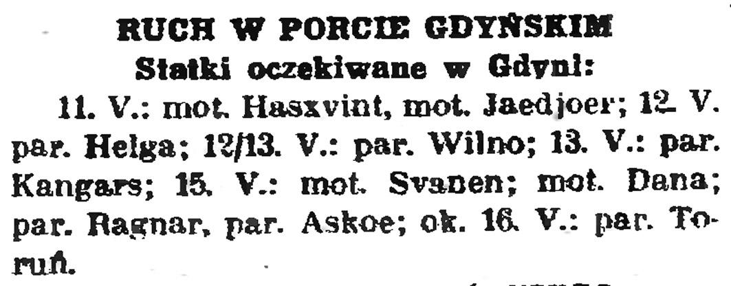 Ruch w porcie gdyńskim: statki oczekiwane w Gdyni // Gazeta Gdańska. - 1939, nr 108, s. 6