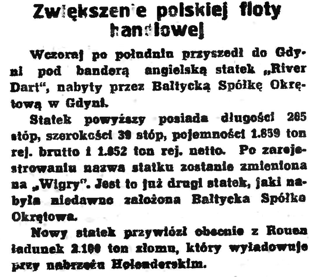 Zwiększenie polskiej floty handlowej // Gazeta Gdańska. - 1939, nr 108, s. 6