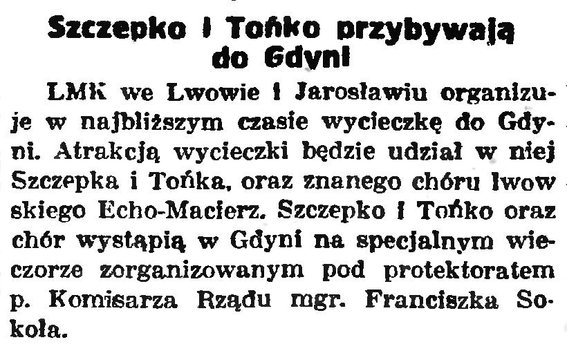Szczepko i Tońko przybywają do Gdyni / gazeta Gdańska 1939 nr 114
