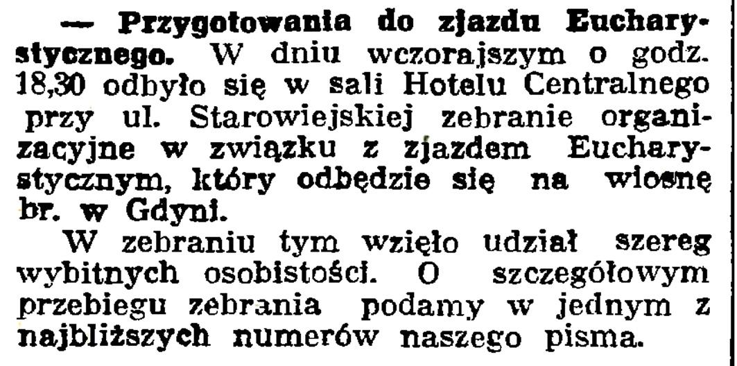 Przygotowanie do zjazdu eucharystycznego // Gazeta Gdańska. - 1939, nr 14, s. 7