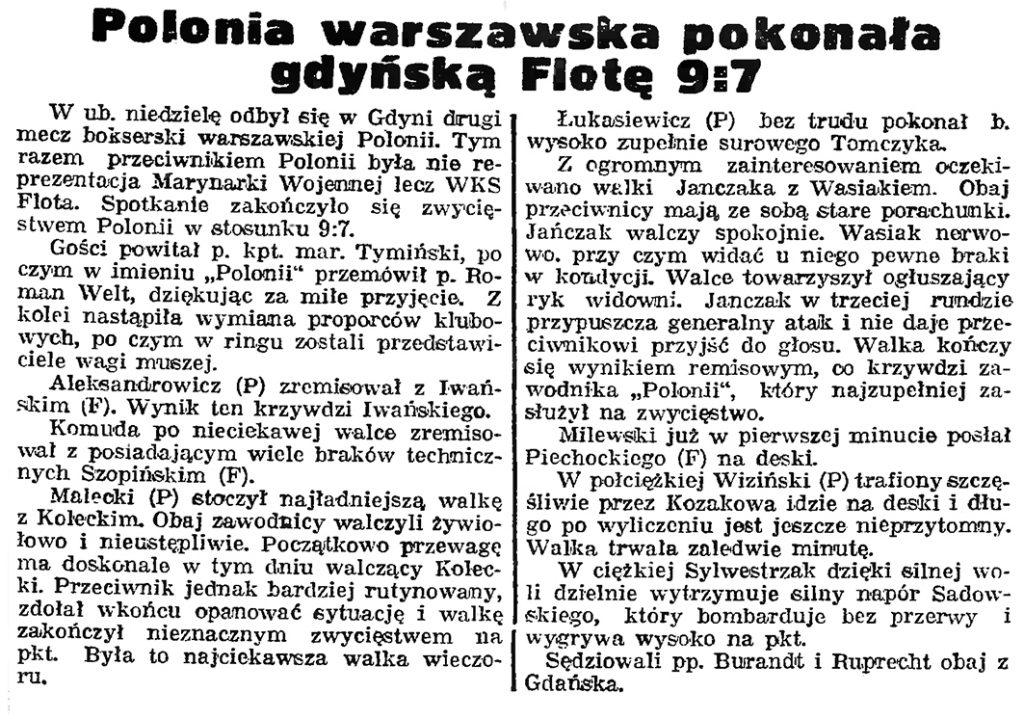 Polonia warszawska pokonała gdyńską Flotę 9:7