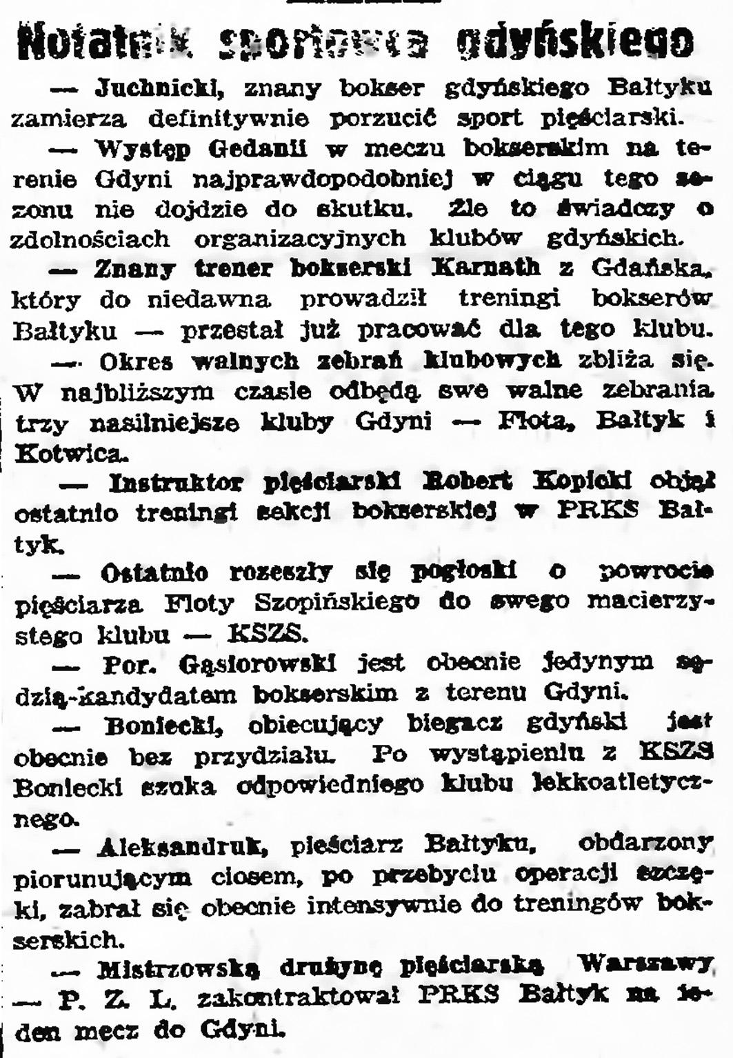 Notatnik  sportowca gdyńskiego // Gazeta Gdańska. - 1939, nr 15, s. 7