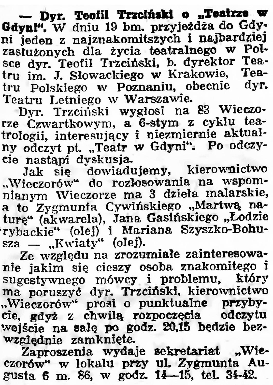 """Dyr. Teofil Trzciński o """"Teatrze w Gdyni"""" // Gazeta Gdańska. - 1939, nr 11, s. 7"""