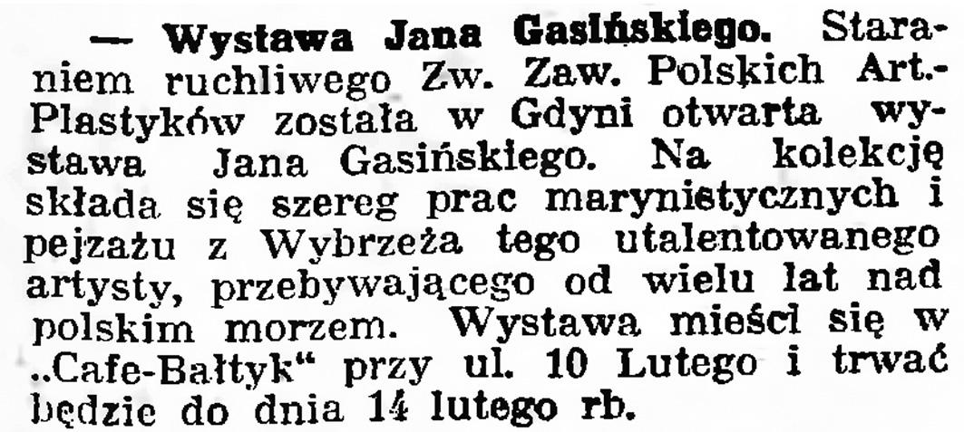 Wystawa Jana Gasińskiego // Gazeta Gdańska. - 1939, nr 11, s. 7