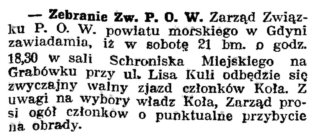 Zebranie Zw. P. O. W. //  Gazeta Gdańska. - 1939, nr 16, s. 7