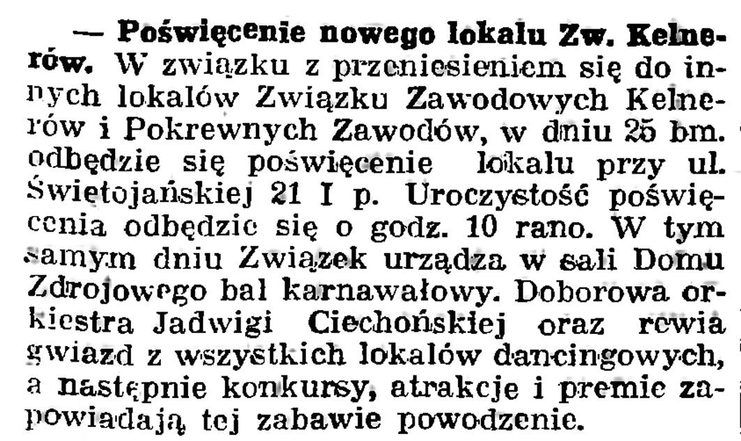 Poświęcenie nowego lokalu Zw. Kelnerów // Gazeta Gdańska. - 1939, nr 16, s. 7