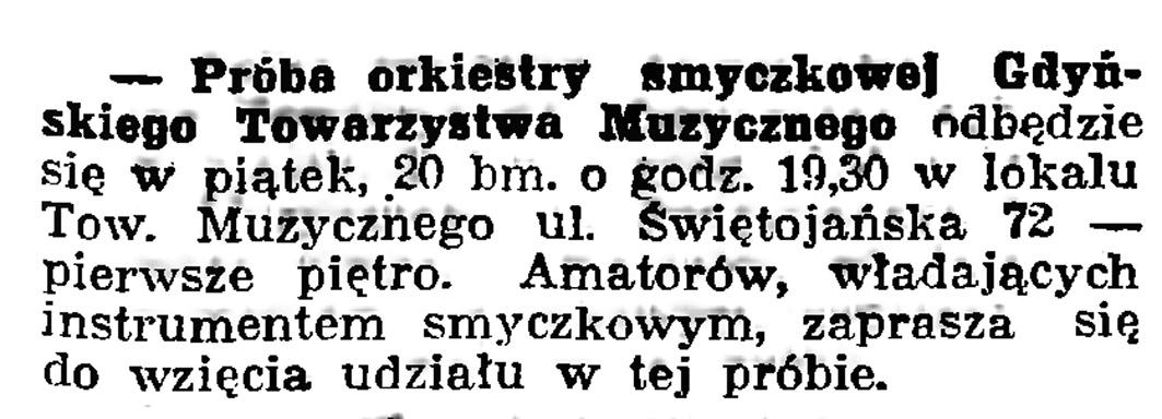 Próba orkiestry smyczkowej Gdyńskiego Towarzystwa Muzycznego // Gazeta Gdańska. - 1939, nr 16, s. 7